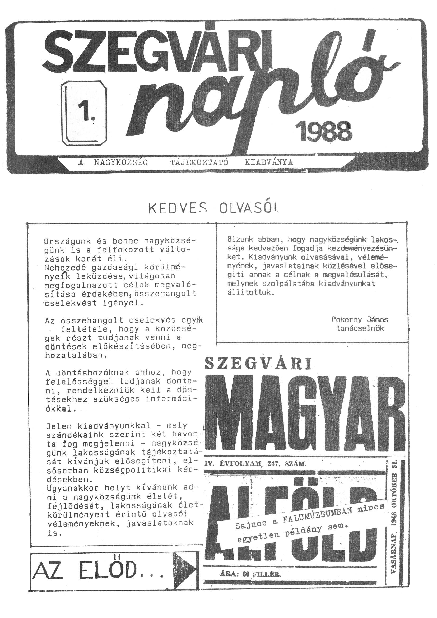 Szegvári Napló 001. lapszám – 1988. – 01. oldal – Digitalizá
