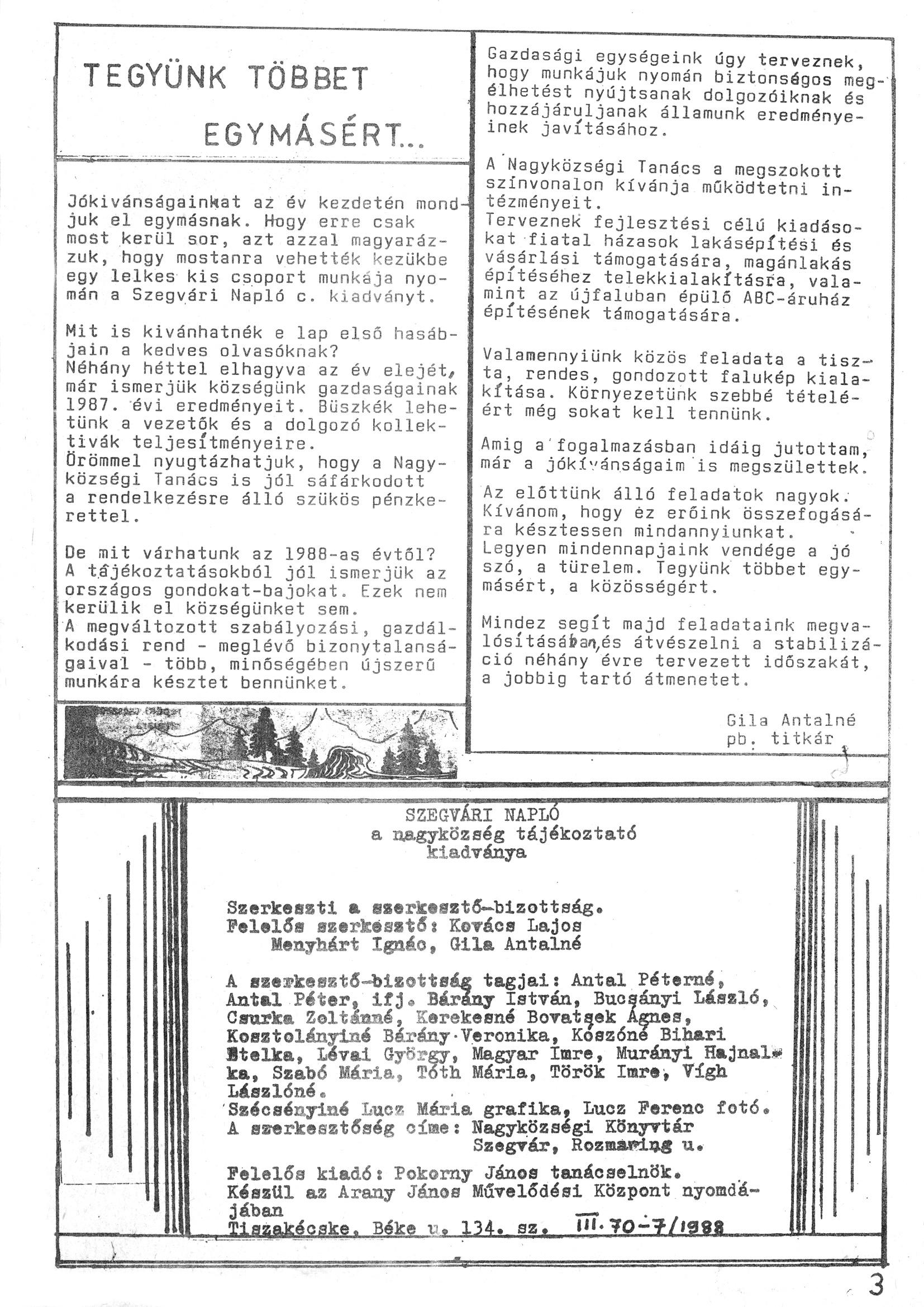 Szegvári Napló 001. lapszám – 1988. – 03. oldal – Digitalizá