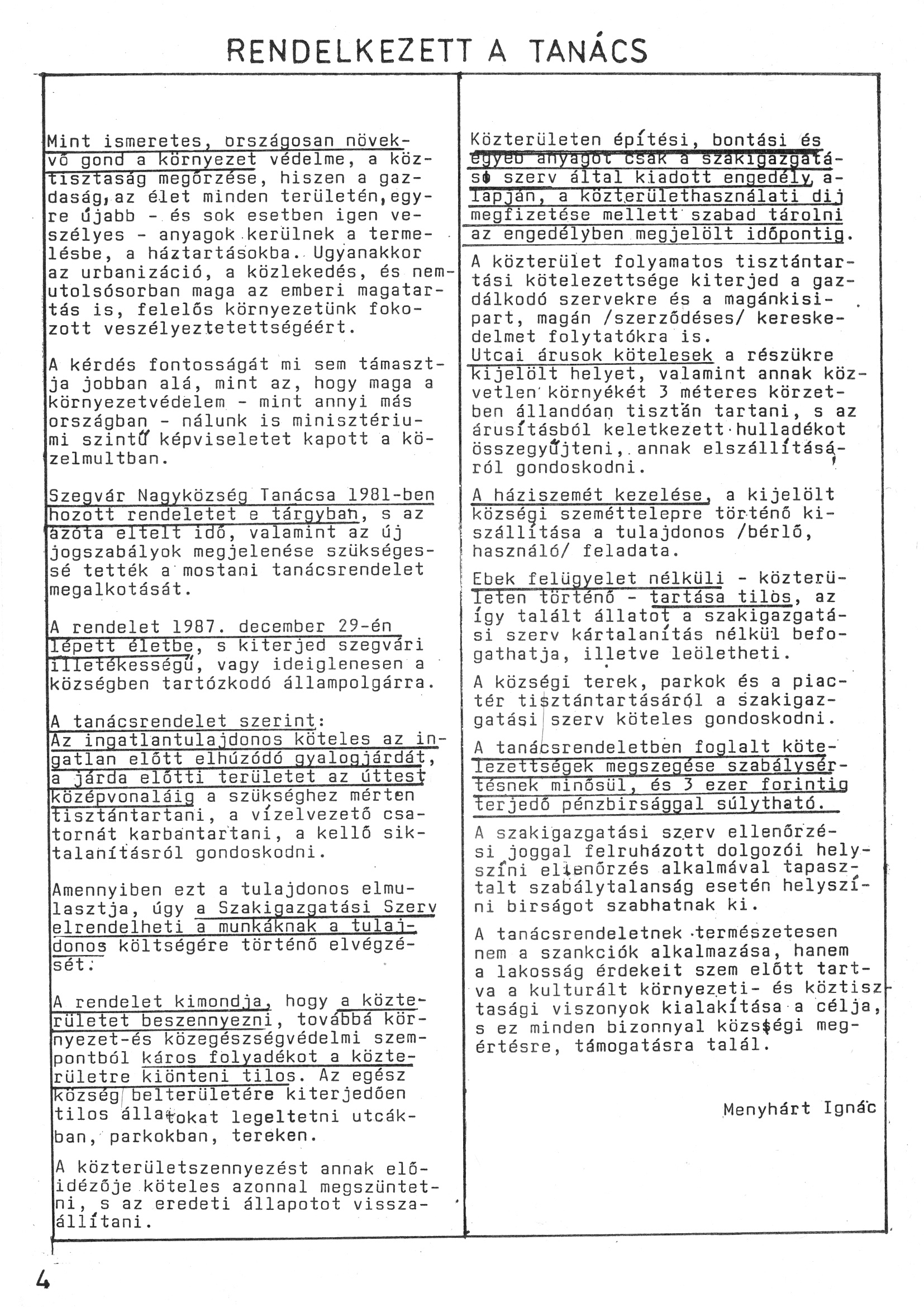 Szegvári Napló 001. lapszám – 1988. – 04. oldal – Digitalizá