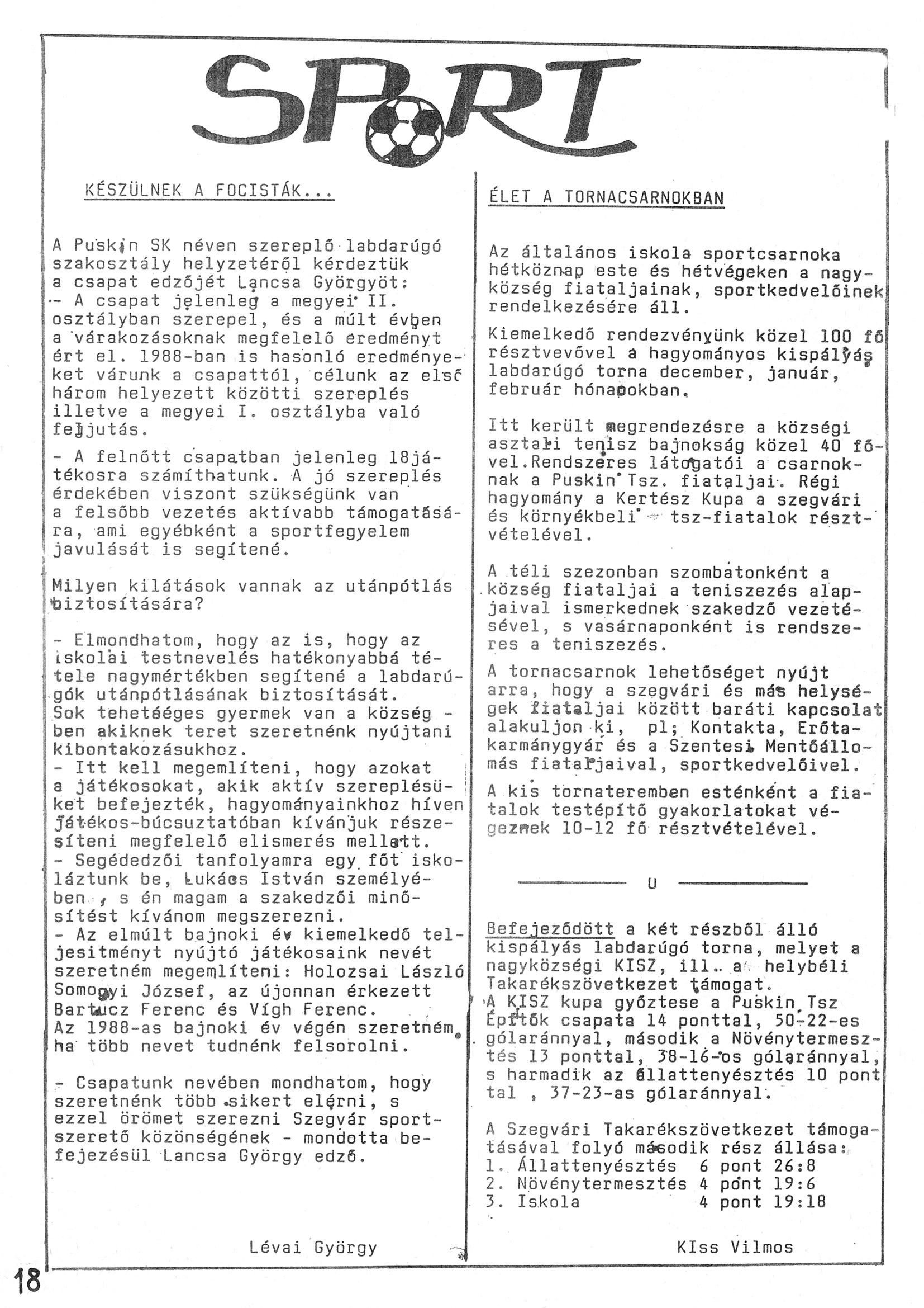 Szegvári Napló 001. lapszám – 1988. – 18. oldal – Digitalizá