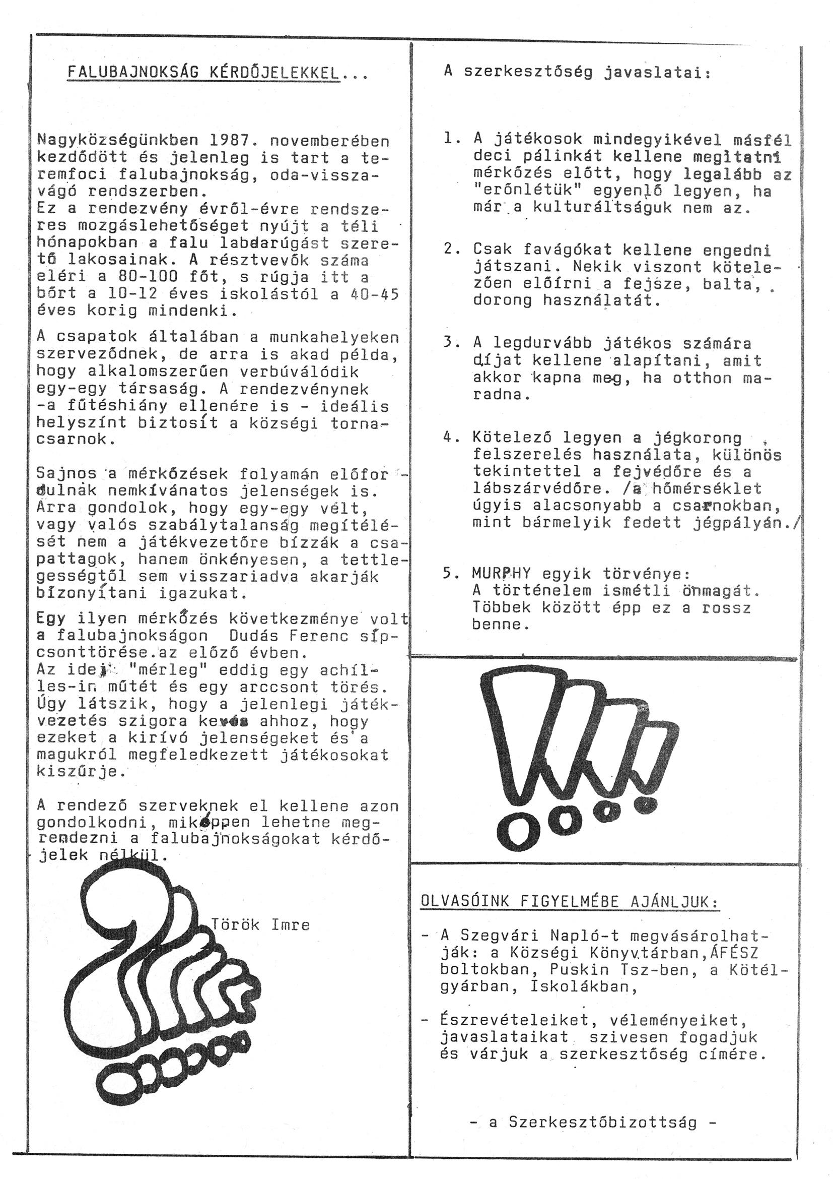 Szegvári Napló 001. lapszám – 1988. – 19. oldal – Digitalizá