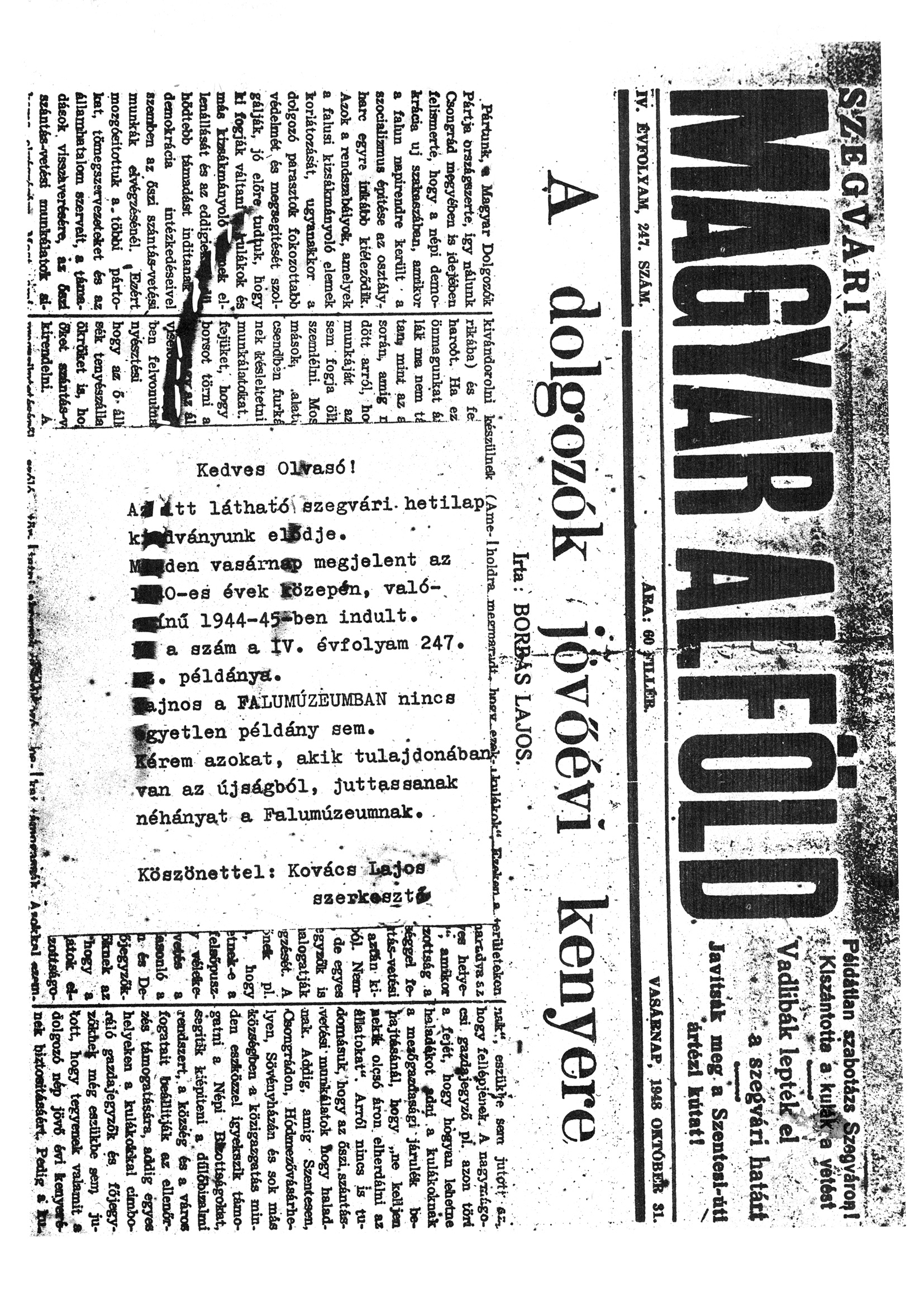 Szegvári Napló 001. lapszám – 1988. – 20. oldal – Digitalizá
